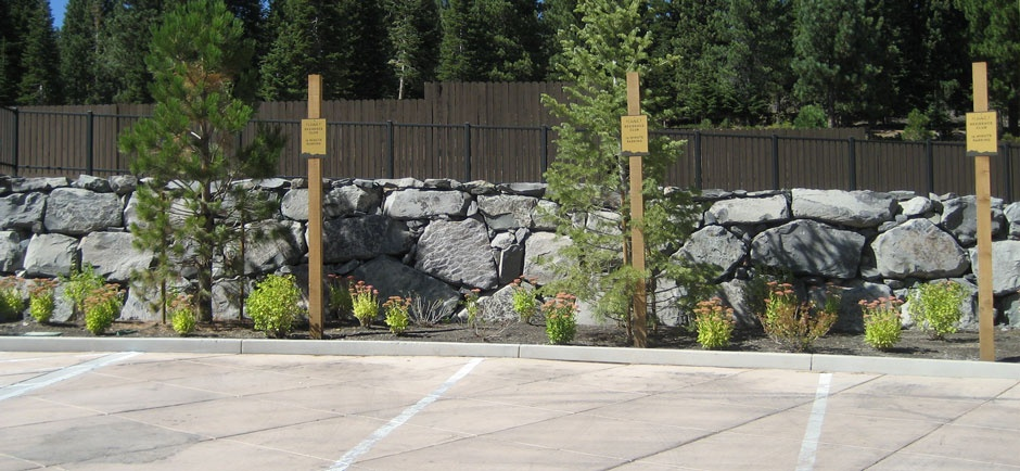 rock wall along parking lot